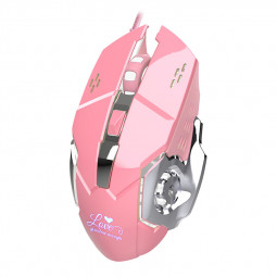 Metal Texture USB 6 Keys Optical Wired Gaming Mouse Four-way Wheel Destop Mouse