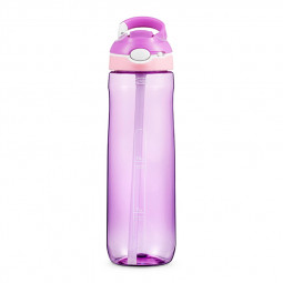 750ML Tritan Sport Outdoor Drinking Hook Type Water Bottle with Straw Silicone Nozzle for Camping Travel - Purple