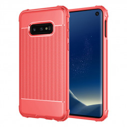 Slim TPU Back Case Soft Grainy Phone Case Lightweight Anti-fingerprint Cover for Samsung Galaxy S10e - Red