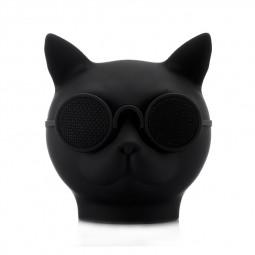 Mini Cat Head Colorful Wireless Bluetooth Speaker Cute Cartoon Music Audio Player Super Bass Loudspeaker - Black