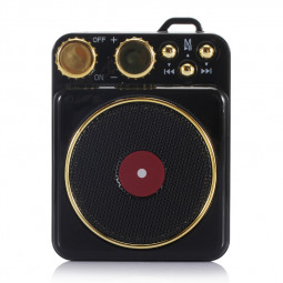 Elvis Retro Wireless Bluetooth Speaker Portable Subwoofer Creative Loudspeaker Audio Speaker Gift Support TF USB - Black