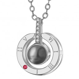 100 Languages I Love You Necklace Projection S925 Sterling Titanium Steel Unfading Pendant - Silver
