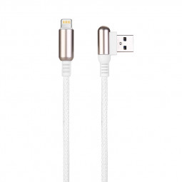 1 M Bullet Shape 8pin Charging Cable Durable Soft Braided Cable for iPhone - White