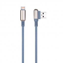 1 M Bullet Shape 8pin Charging Cable Durable Soft Braided Cable for iPhone - Grey