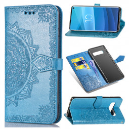 PU Leather Mandala Embossed Leather Case with Flip Stand Card Slot Phone Cover for Samsung Galaxy S10 - Blue