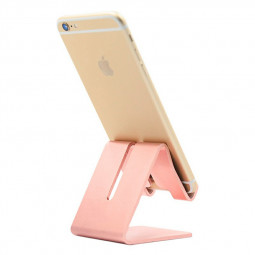 Universal Aluminum Desk Holder Stand Charging Stand for Cellphone Tablet - Rose Gold