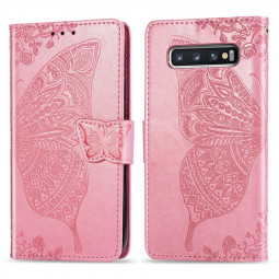 Flower Butterfly Embossed Leather Case PU Leather Flip Stand Wallet Card Case for Samsung Galaxy S10 - Pink