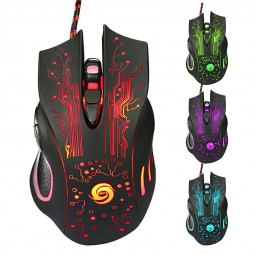 A885 5500dpi 6 Keys Optical Wired LED Gaming Mouse Glowing Esports Mouse