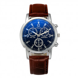 Men Fashion Watch Blue Glass Alloy Case Synthetic Leather Analog Quartz Casual Date Watch - Brown