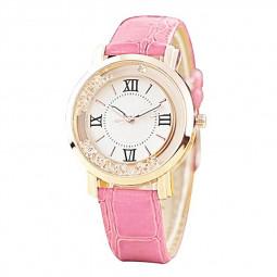 Women Fashion Watch Thin Leather Strap Rhinestone Decoration Dial Girl Watch - Pink