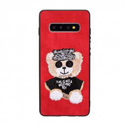 Embroidered Bear Mobile Phone Back Case Durable Hard PC Phone for Samsung Galaxy S10 - Red