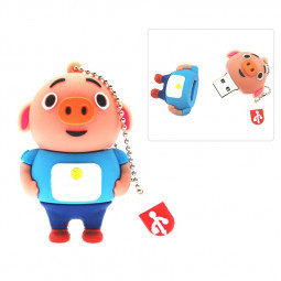 Cute Blue Cartoon Pig USB 2.0 Flash Drive Pen Drive U Disk with Chain - 32GB