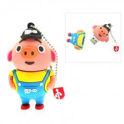 Cute Yellow Cartoon Pig USB 2.0 Flash Drive Pen Drive U Disk with Chain - 64GB