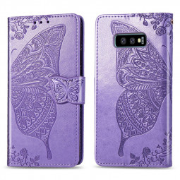 Flower Butterfly Embossed Leather Case PU Leather Flip Stand Wallet Card Case for Samsung Galaxy S10e - Light Purple