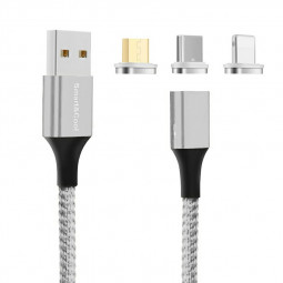 Universal Nylon Braided Magnetic Android iPhone Charging Cable Fit for Type C Micro USB Lightning Ports - Silver