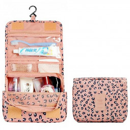 Ladies Wash Bag Hanging Toiletry Cosmetic Travel MakeUp Foldable Organizer Bag - Peach