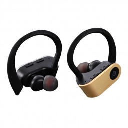 TWS-W2 Bluetooth 5.0 Wireless Earphone Ear-hook Stereo Headset Hifi Sports Headphones for iPhone Android Phones - Gold