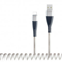 8pin Spring Curly Charger Cable PU Charging Cable for iPhone Cellphones - White