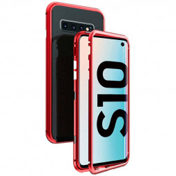 Magnetic Adsorption Metal Frame Phone Case Cover for Samsung Galaxy S10 - Red