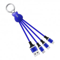 Key Chain Multi Charging Cable Portable Travel Short Cables Type C Micro USB and Lightning Charging Cable - Blue