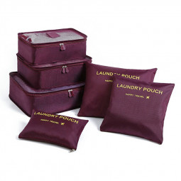 6pcs Clothes Storage Bags Cube Pouch Travel Luggage Organizer Pouch Organizer - Wine Red