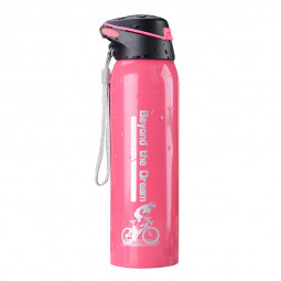 500ML Sports Thermos Water Bottle with Straw Double Wall Vacuum Insulated Stainless Steel Thermos - Pink