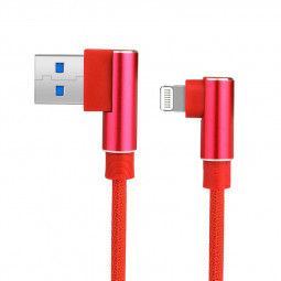 Durable L Shape Double 90 Degree Elbow Braided Connector Nylon Weaving 8pin Charging Cable 1m - Red