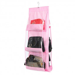 Handfly Hanging Storage Bag Hanging Closet Organizer Wall Organizer with 6 Layers - Pink