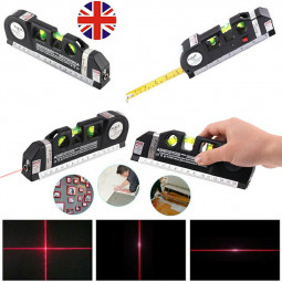 3 in 1 Laser Level Aligner Horizon Vertical Cross Line Measure Tape Ruler 10m