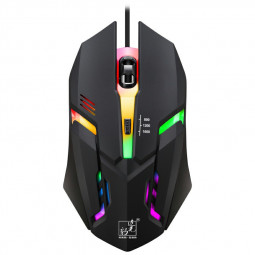 K2 1600 DPI Wired Gaming Mouse LED Light Computer Mouse with 7 Auto-Changing Color - White