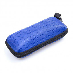 Rectangle Zipper Anti-Compression Sunglasses Eye Glasses Hard Case Eyewear Protector Box with Hook - Blue