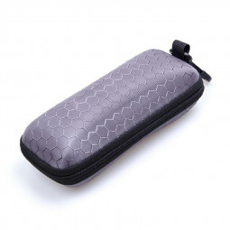Rectangle Zipper Anti-Compression Sunglasses Eye Glasses Hard Case Eyewear Protector Box with Hook - Grey
