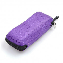 Rectangle Zipper Anti-Compression Sunglasses Eye Glasses Hard Case Eyewear Protector Box with Hook - Purple