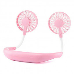 Portable USB Rechargeable Wearable Neckband Lazy Neck Hanging Dual Cooling Mini Fan - Pink