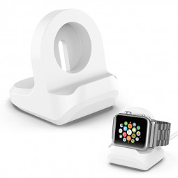 A Plastic Lightweight Compact Stand Foundation for Apple Watch Charging Station - White
