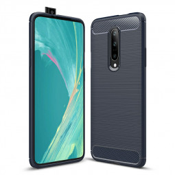 TPU Shockproof Carbon Fiber Soft Silicone Protective Case Back Case Cover for OnePlus 7 Pro - Navy