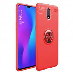 Ultra Soft TPU Shockproof Bumper Case with Metal Ring Holder for OnePlus 7 - Red