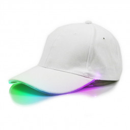 White Baseball Cap Light Up Hat Sports Travel Party Club Cap with LED Light Brim - Multicolor