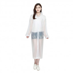 EVA Raincoat Translucent Adult Rain Coat Waterproof Poncho Long Sleeve Coat for Men and Women - White