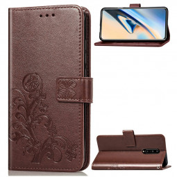 PU Leather Protective Case Clover Embossed Flip Stand Wallet Phone Cover for OnePlus 7 Pro - Brown