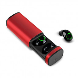 X23 TWS 5.0 Metal Stylish Wireless Earphones Headset Stereo Earbuds with Charging Case - Red