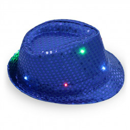 LED Luminous Light Up Hat Colorful Flash Sequin Cap Stage Dance Party Paillette Jazz - Blue