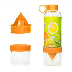 800ML Press Citrus Lemon Water Bottle Juice Fruit Infuser Filter Cup - Orange