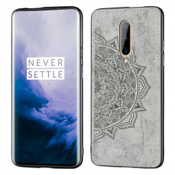 3D Printed Mandala Embossed Fabric TPU Back Case Phone Cover for OnePlus 7 Pro - Grey