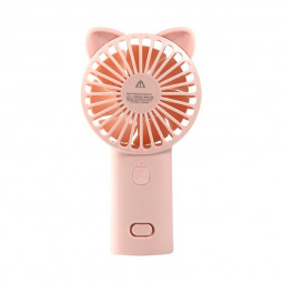 Cute Cat Ear USB Summer Portable Mini Fan Light Handheld Fan - Pink