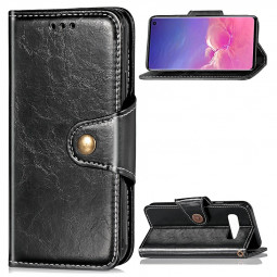 Wallet Flip Stand Cover Phone Case PU Leather Full Cover for Samsung Galaxy S10e - Black