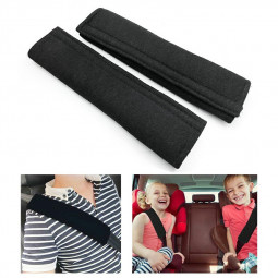One Pair Kids Car Safety Seat Belt Vehicle Harness Shoulder Pad Cover Protection - Black
