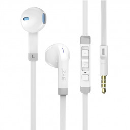 BYZ S800 Wired Headphones 3.5mm In Ear Music Stereo Earphones Earbuds with Microphone for Phones and Computer - White