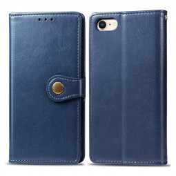 Flip Stand Holder Magnetic Buckle PU Wallet Card Phone Case for iPhone 7/8 - Blue