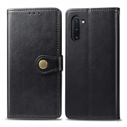Leather Wallet Card Case Cover with Magnetic Buckle Flip Stand for Samsung Galaxy Note 10 - Black